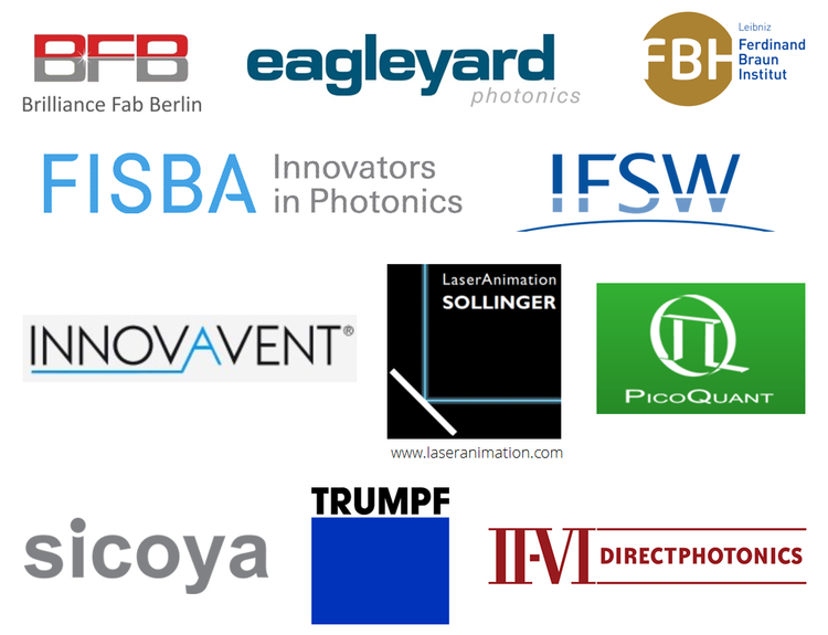 BeamXpertDESIGNER - Logos of our partners (BFB, eagleyard, FBH, FISBA, IFSW, Innovavent, LaserAnimation Sollinger, Picoquant, sicoya, TRUMPF and II-VI Directphotonics)