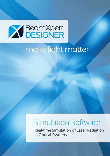 Front page of the BeamXpertDESIGNER brochure