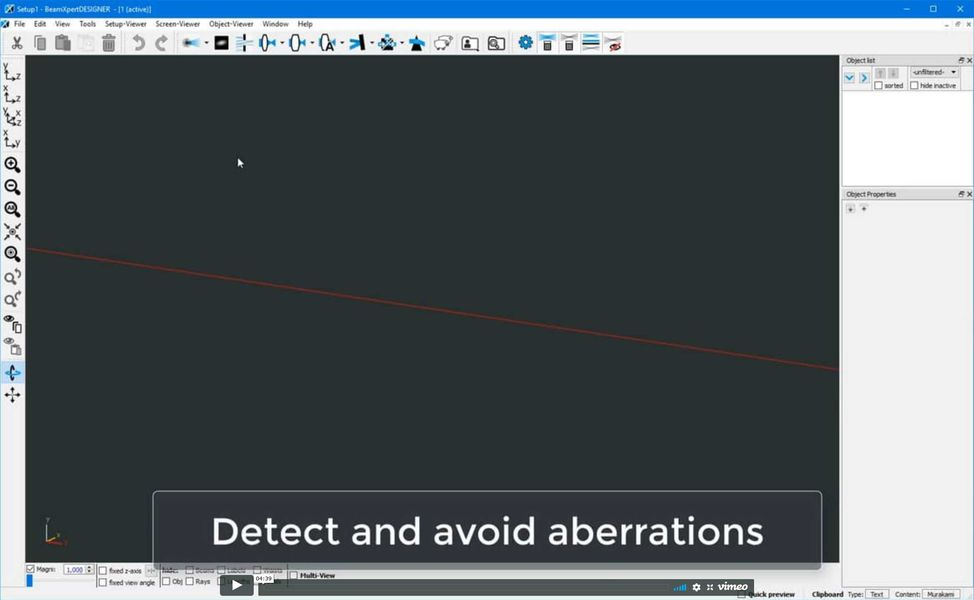 Use the Ray model to detect and eliminate aberrations in your optical setup with BeamXpertDESIGNER