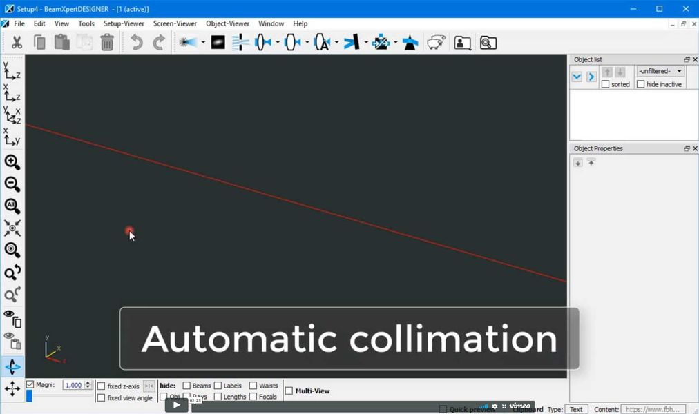 How to automatically determine the optimal lens position for laser beam collimation with BeamXpertDESIGNER